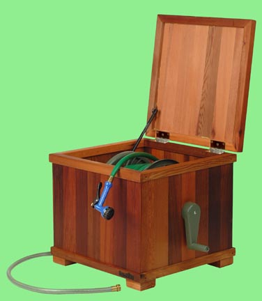 Cedar hose reel box For storing the unsightly garden hose and reel