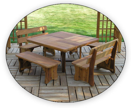 Amazingly Sturdy Dining Table For Eight With Tons Of Leg Room And Built In  Market Umbrella Stabilizer. Beautiful Wood, Design And Joinery. A Great  Table.